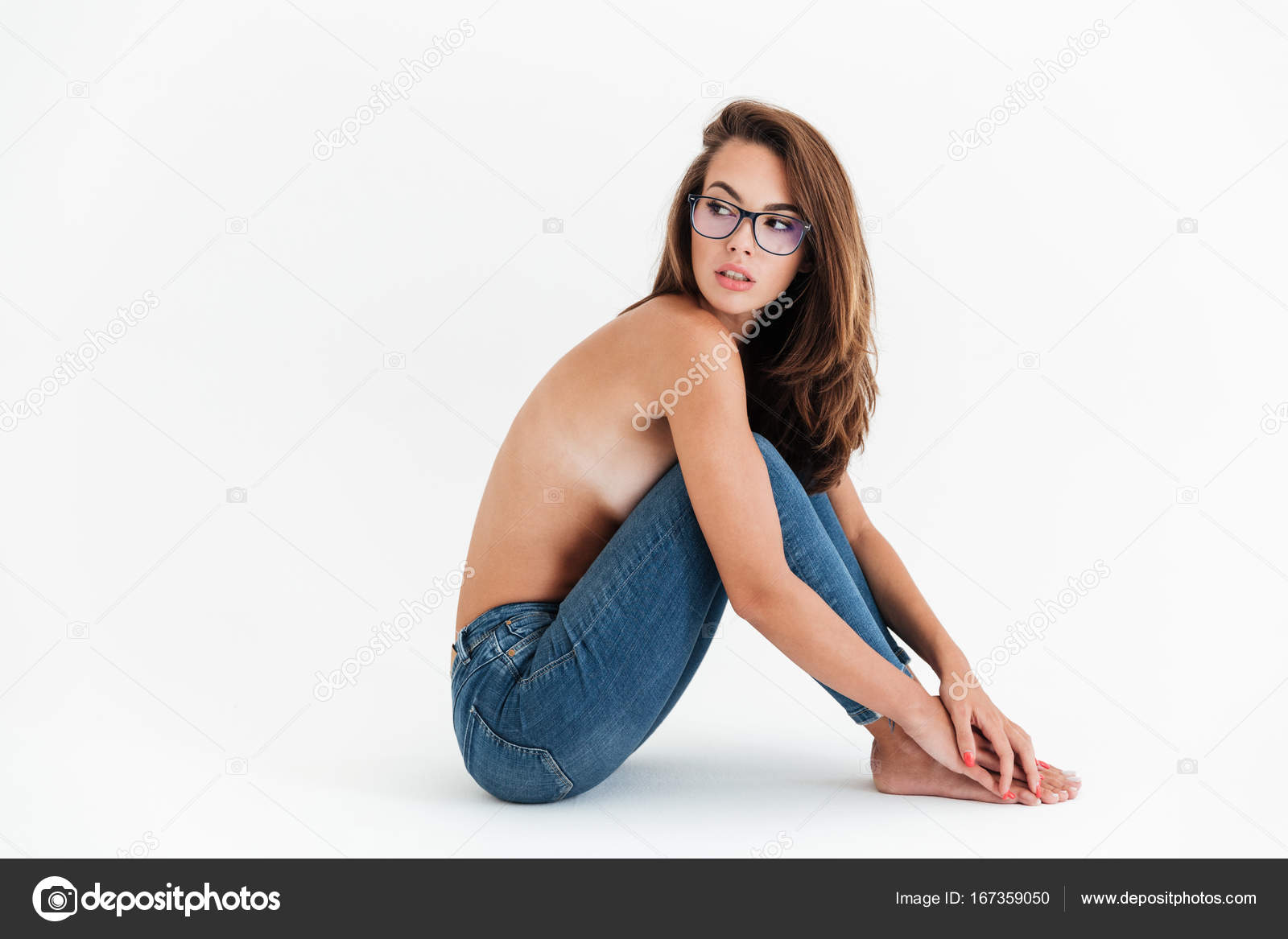 Half naked girl glasses