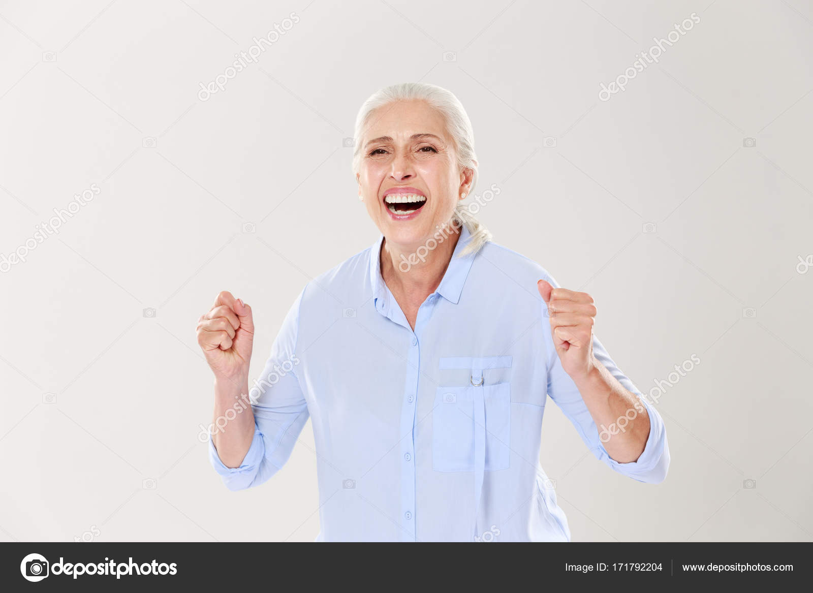 Overjoyed old woman, celebrating the vin — Stock Photo ...