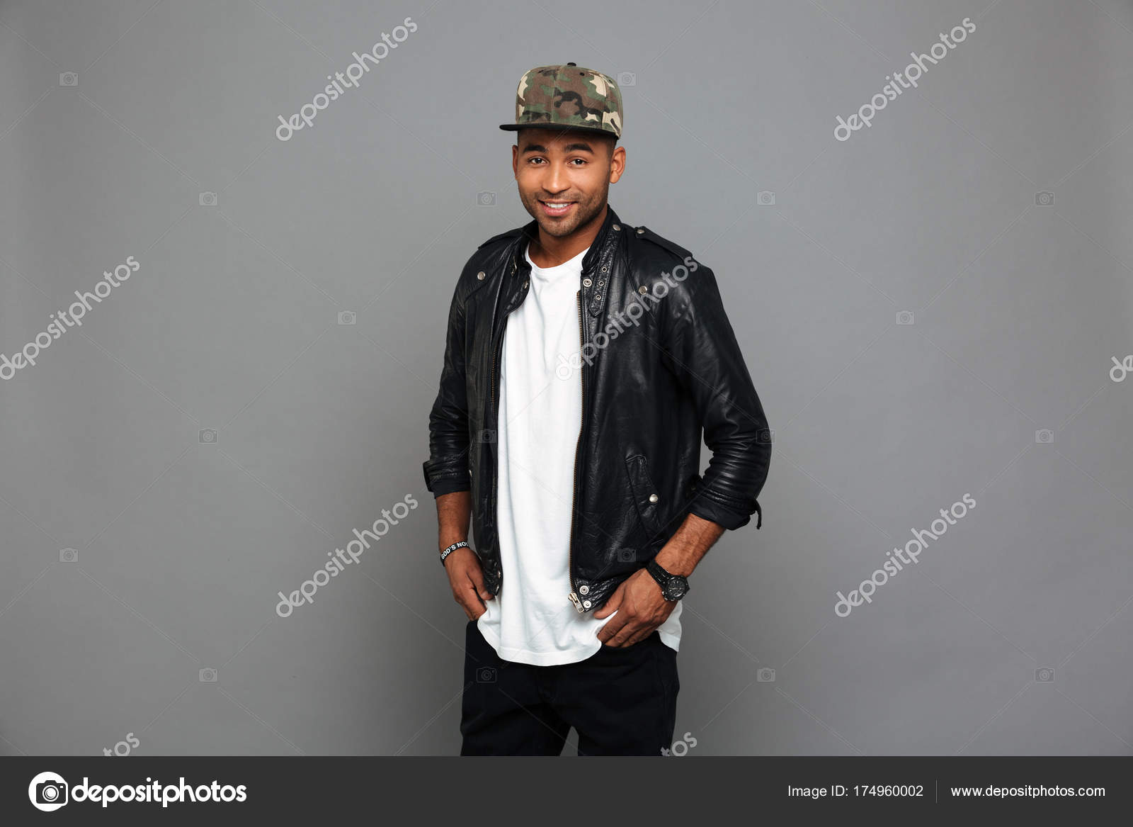 Handsome African Guy In Leather Jacket Standing With Hands In Hi