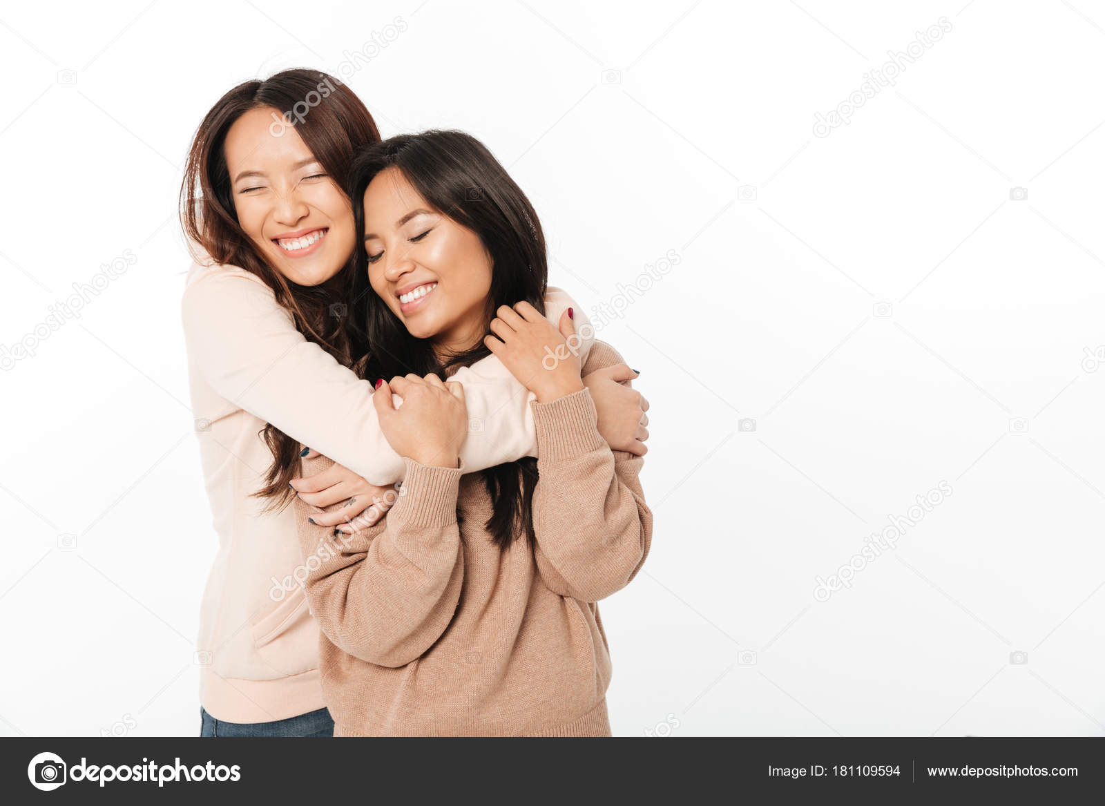 two asian cute ladies sisters standing isolated — stock photo