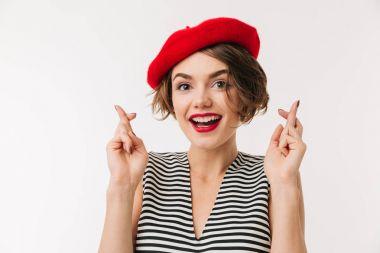 Portrait of a lovely woman wearing beret