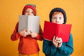 Fotografie Zwei Angst kleine Rothaarige Kinder Gesichter mit Bücher über