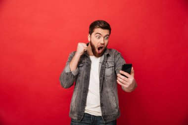 Photo of delighted bearded guy clenching fist and rejoicing while looking on mobile phone in hand isolated over red background stock vector