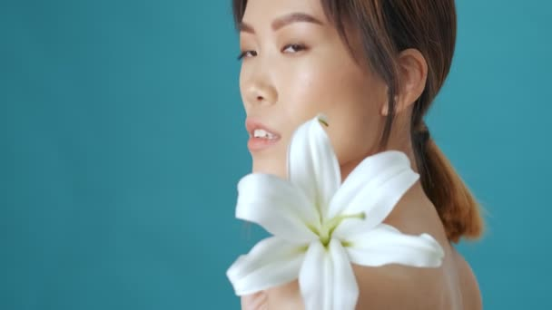 A side view of a good-looking young asian woman is holding a white Lily flower on her shoulder while posing over blue wall background
