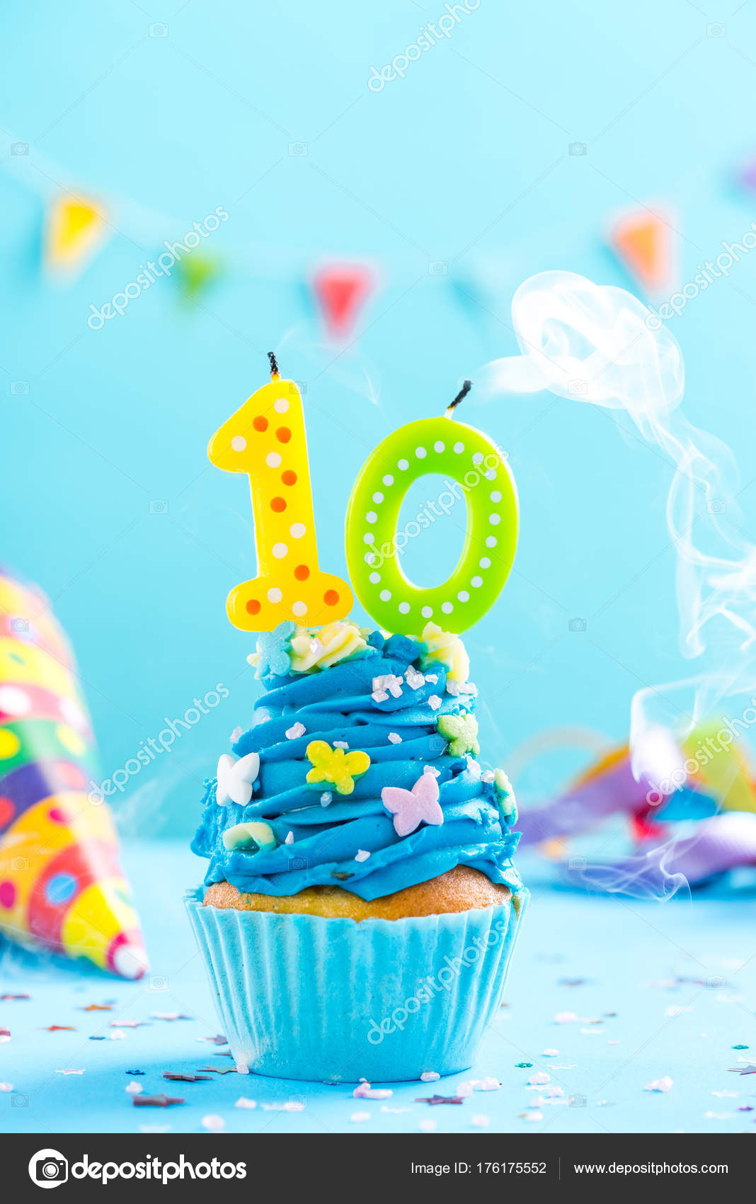 Tenth 10th Birthday Cupcake With Candle Blow OutCard Mockup Stock Photo