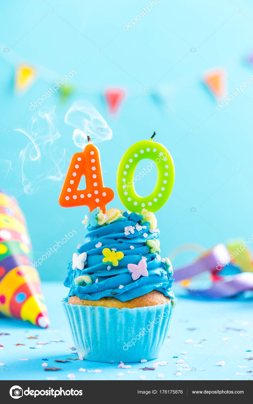 Fortieth 40th Birthday Cupcake With Candle Blow Outrd Mockup