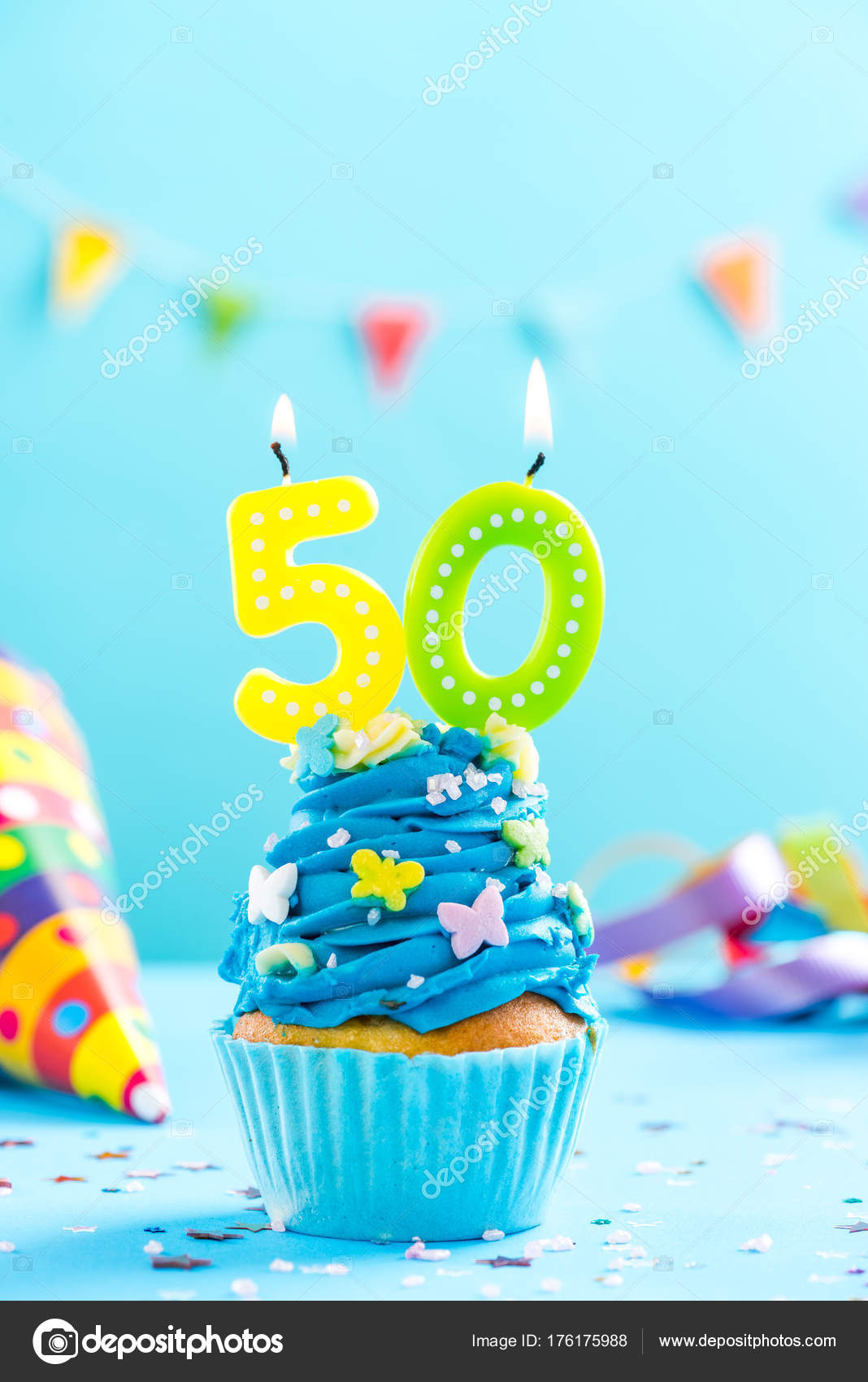 Fiftieth 50th Birthday Cupcake With Candle Card Mockup Stock Photo