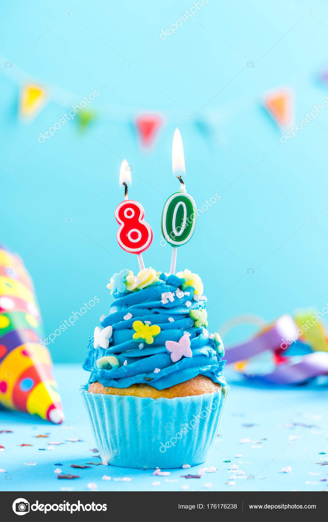 Eightieth 80th Birthday Cupcake With Candle Card Mockup Stock Photo
