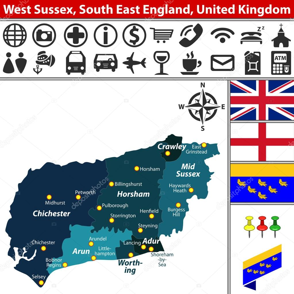 West Sussex South East England Uk Stock Vector C Sateda 127661968