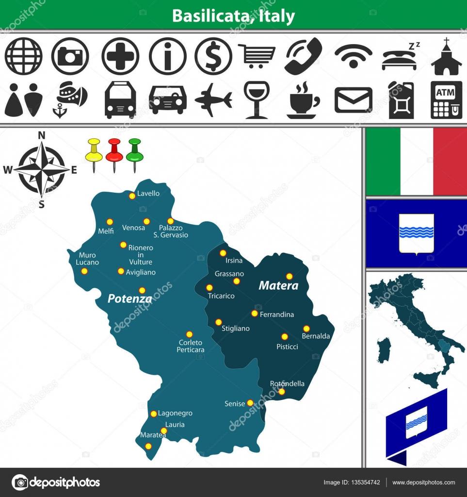 Basilicata with regions Italy Stock Vector sateda 135354742