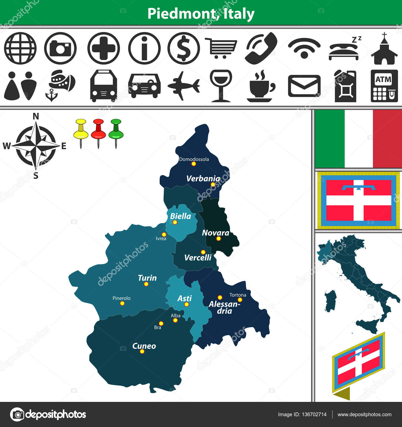 Karta Italien Regioner.Piemonte Med Regioner Italien Stock Vektor C Sateda 136702714