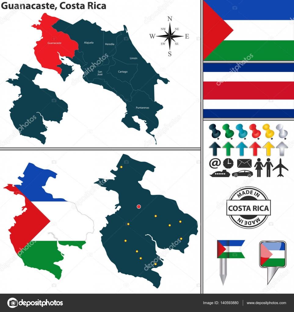 Map of Guanacaste, Costa Rica — Stock Vector © sateda #140593880