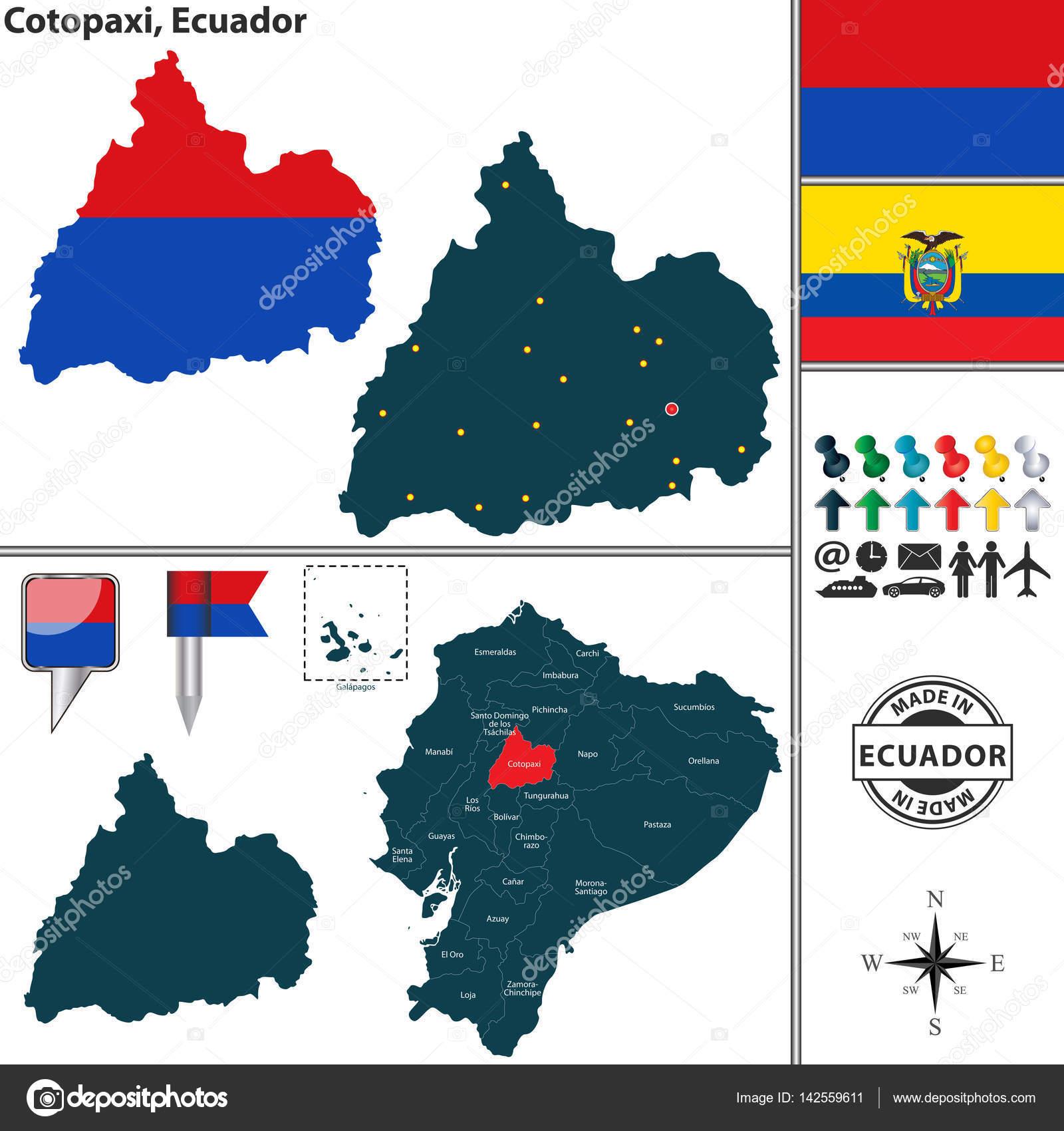 Map of Cotopaxi Ecuador Stock Vector sateda 142559611