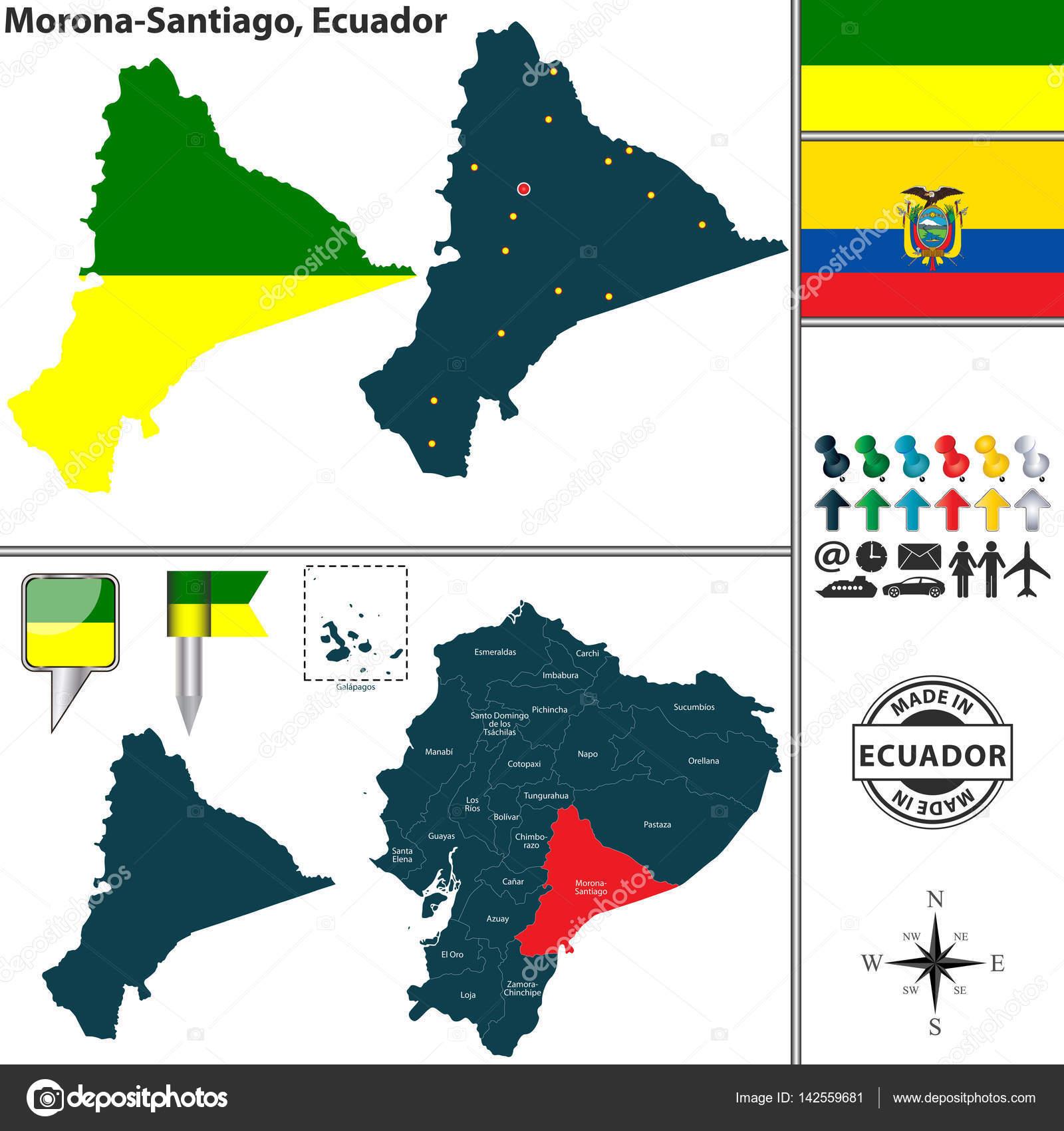 Map of Morona Santiago Ecuador Stock Vector sateda 142559681
