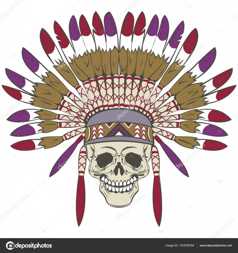 Calavera con tocado de indio — Vector de stock © sateda #161978764