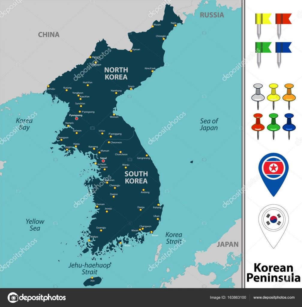 Map of korean peninsula stock vector sateda 163863100 map of korean peninsula stock vector gumiabroncs Images