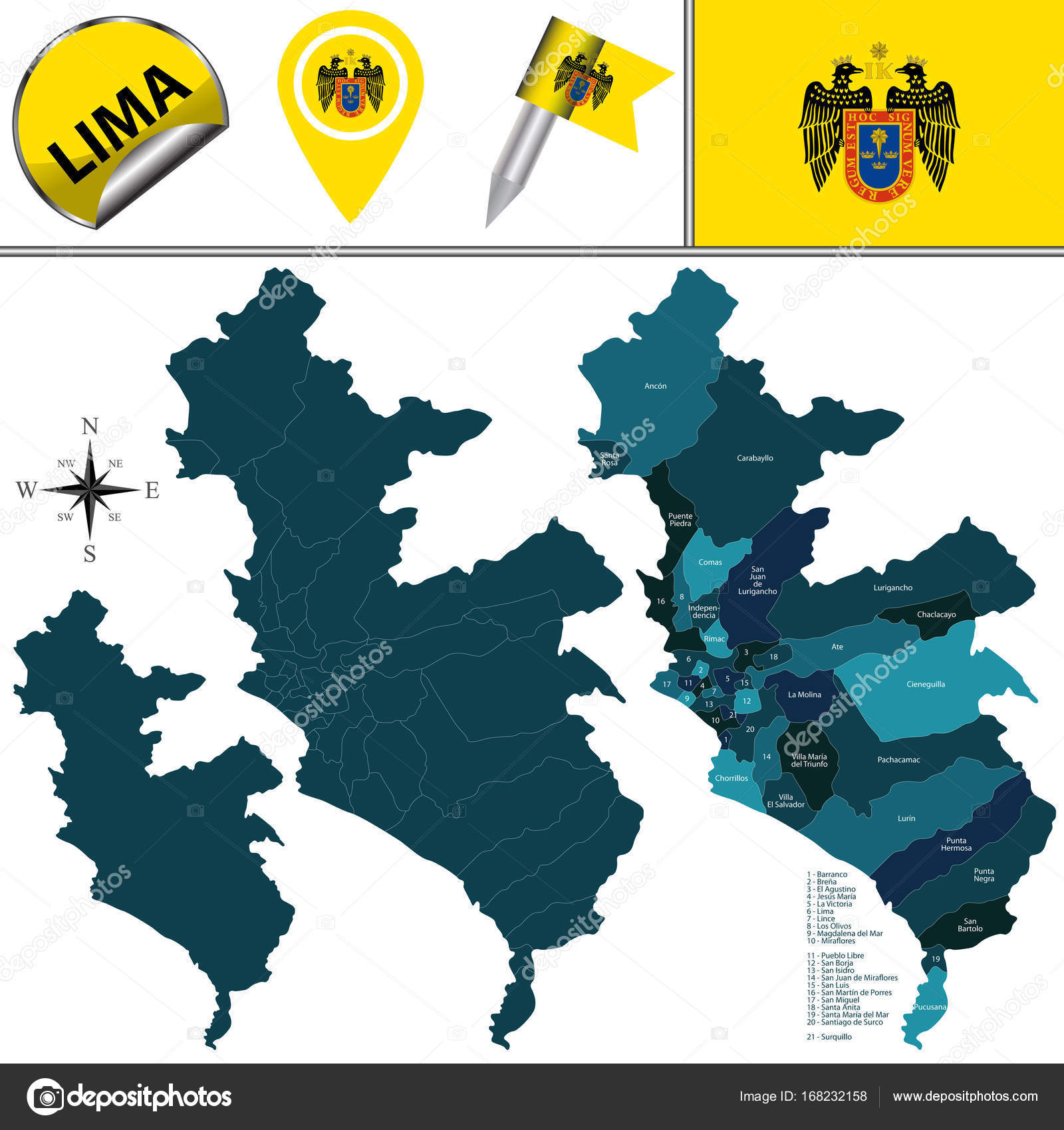 Map Of Lima With Districts Stock Vector C Sateda 168232158