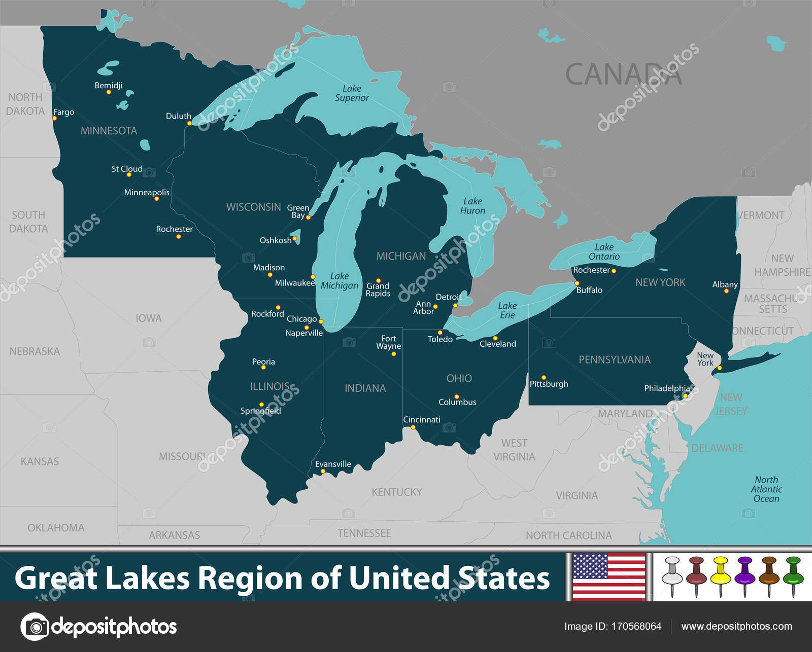 Great Lakes Region of United States — Stock Vector © sateda ...