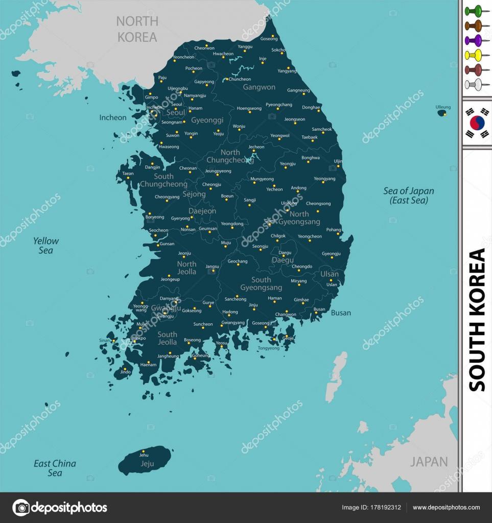 Südkorea Karte.Karte Von Südkorea Stockvektor Sateda 178192312
