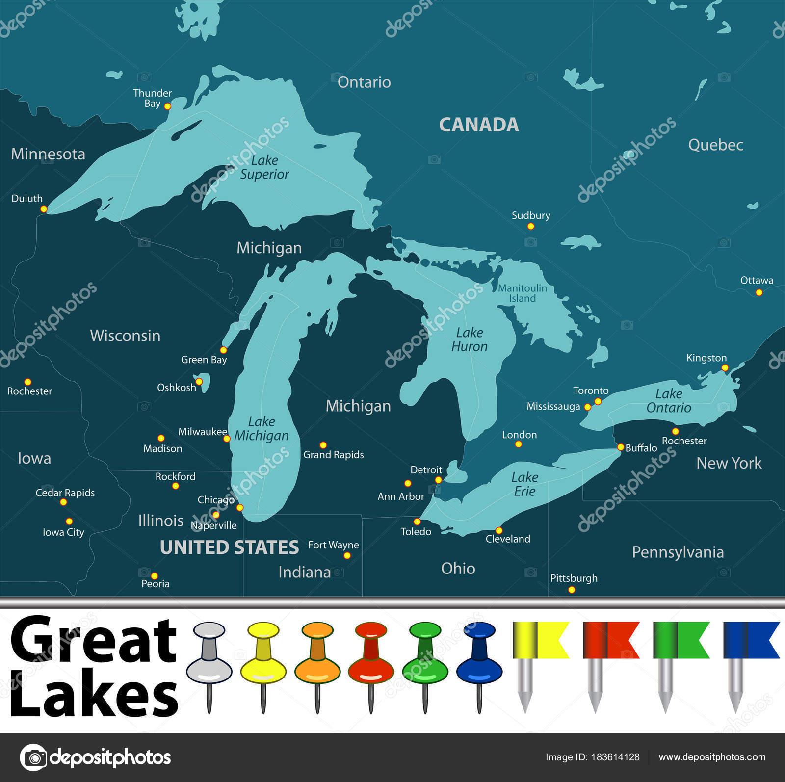 Map of Great Lakes Stock Vector sateda 183614128
