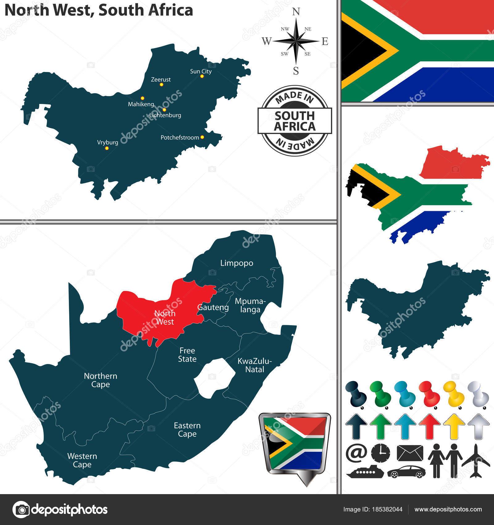 Carte Afrique Du Sud Ouest.Carte Du Nord Ouest L Afrique Du Sud Image Vectorielle Sateda