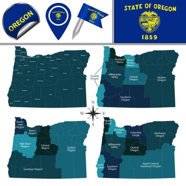 Map of Oregon with Regions