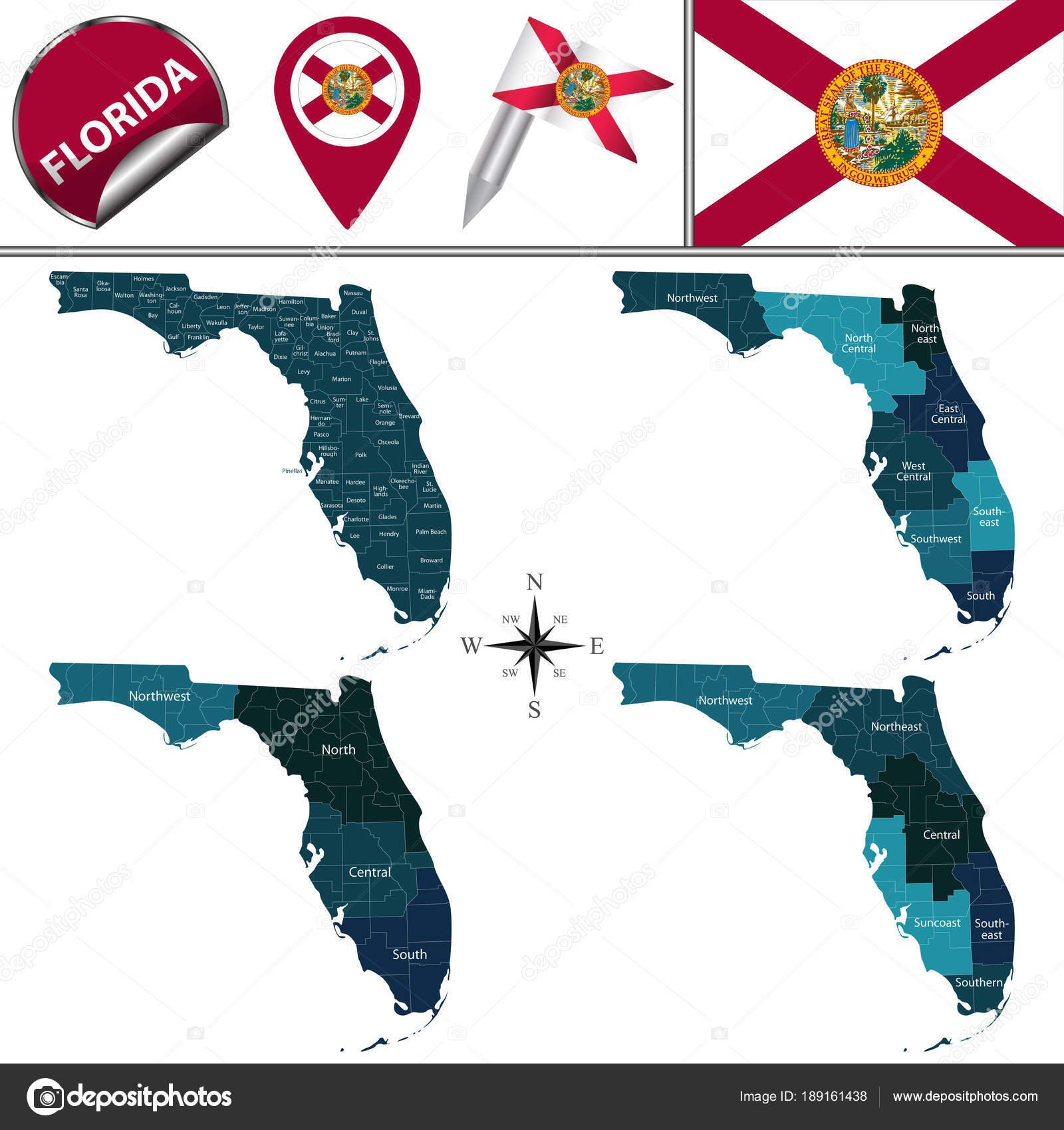Florida Regions Map.Map Of Florida With Regions Stock Vector C Sateda 189161438
