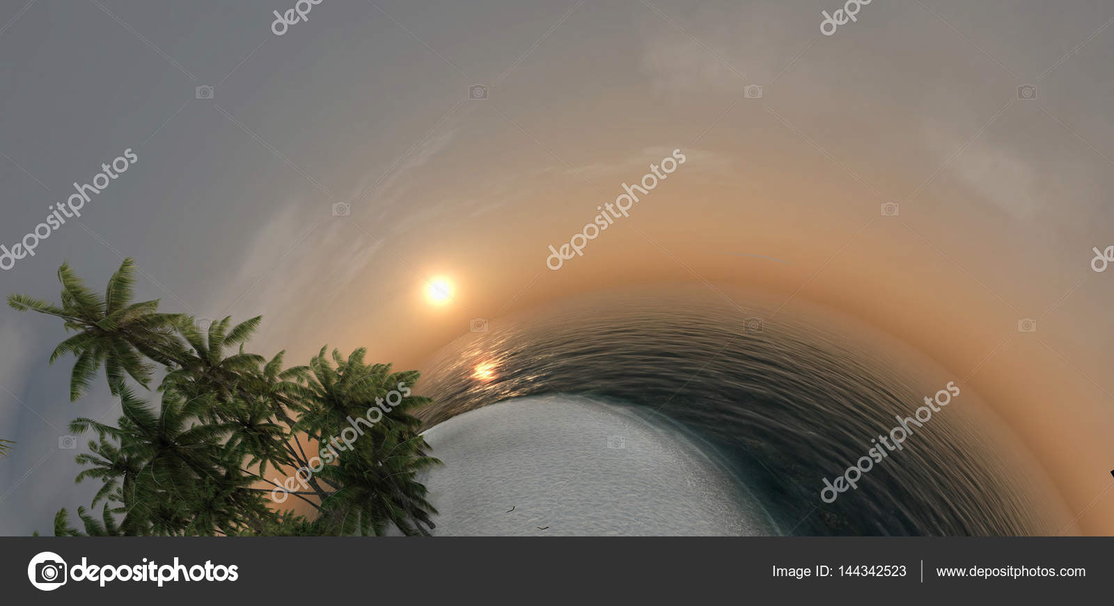 small planet, ocean, tropical island, palm trees 3d rendering