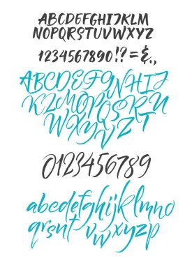 Vector alphabet. Hand drown letters. Duo brush rush fonts