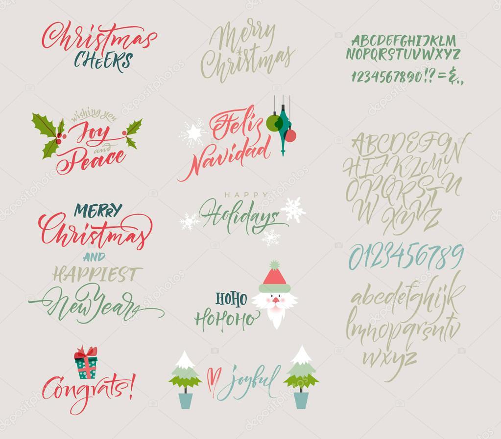Vektor-Alphabet. Weihnachten und Neujahr Herzlichen Glückwunsch ...