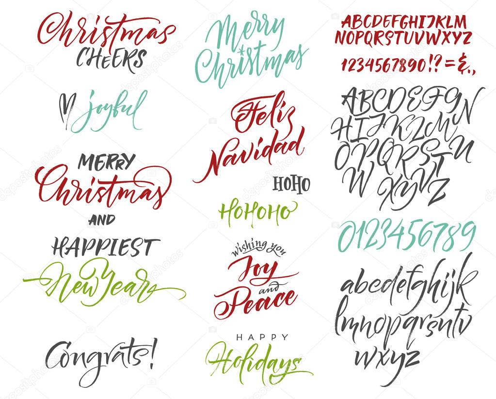 Vector alphabet christmas and new year congrats season greetings vector alphabet christmas and new year congrats season greetings lettering for postcards and greetings to family and friends vector by veraholera m4hsunfo