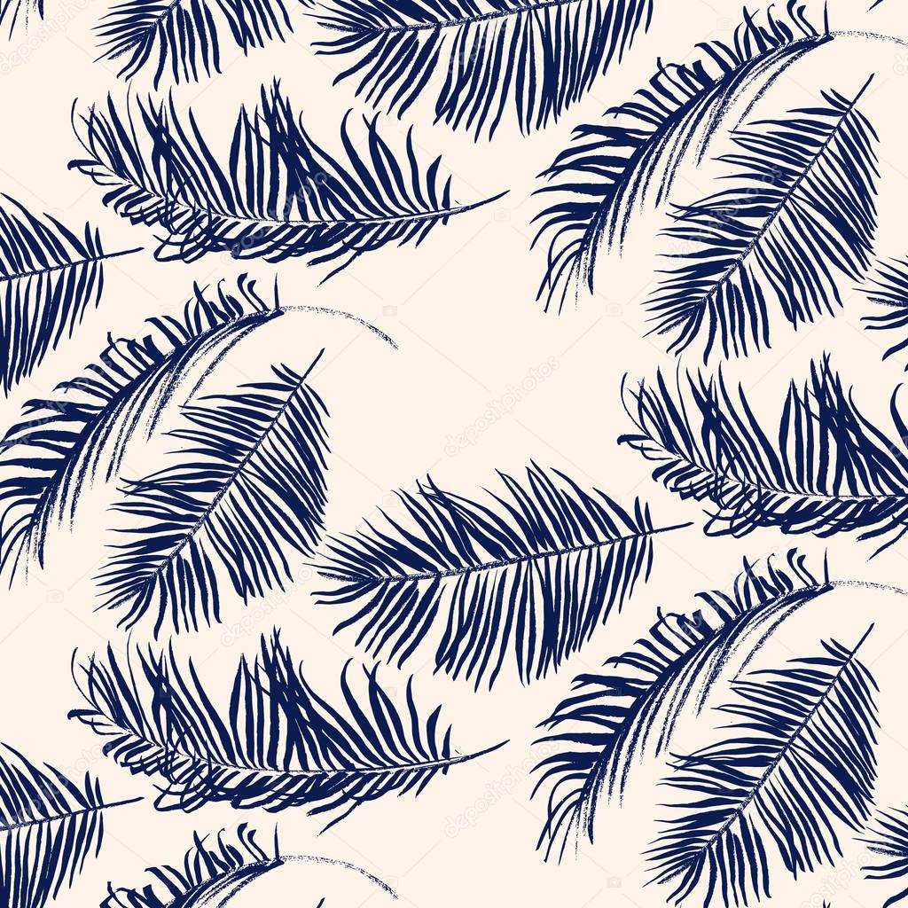 Blue palm leaves pattern