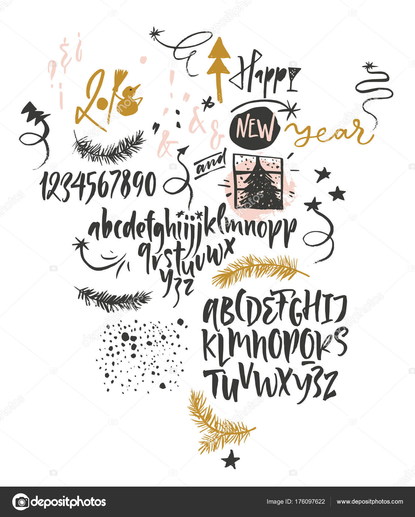 Happy New Year funny font and graphic — Stock Vector © vera.holera ...