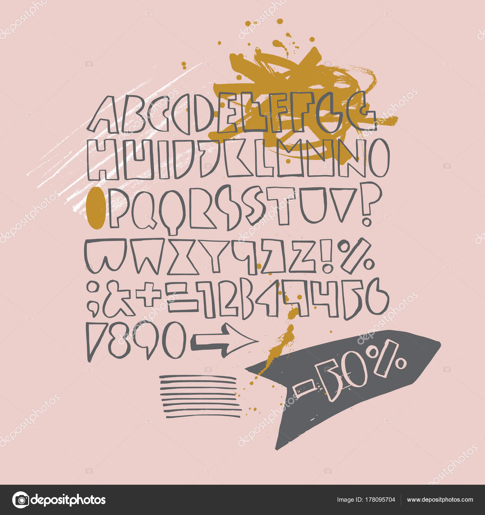 Bold geometric playful font with ink texture — Stock Vector