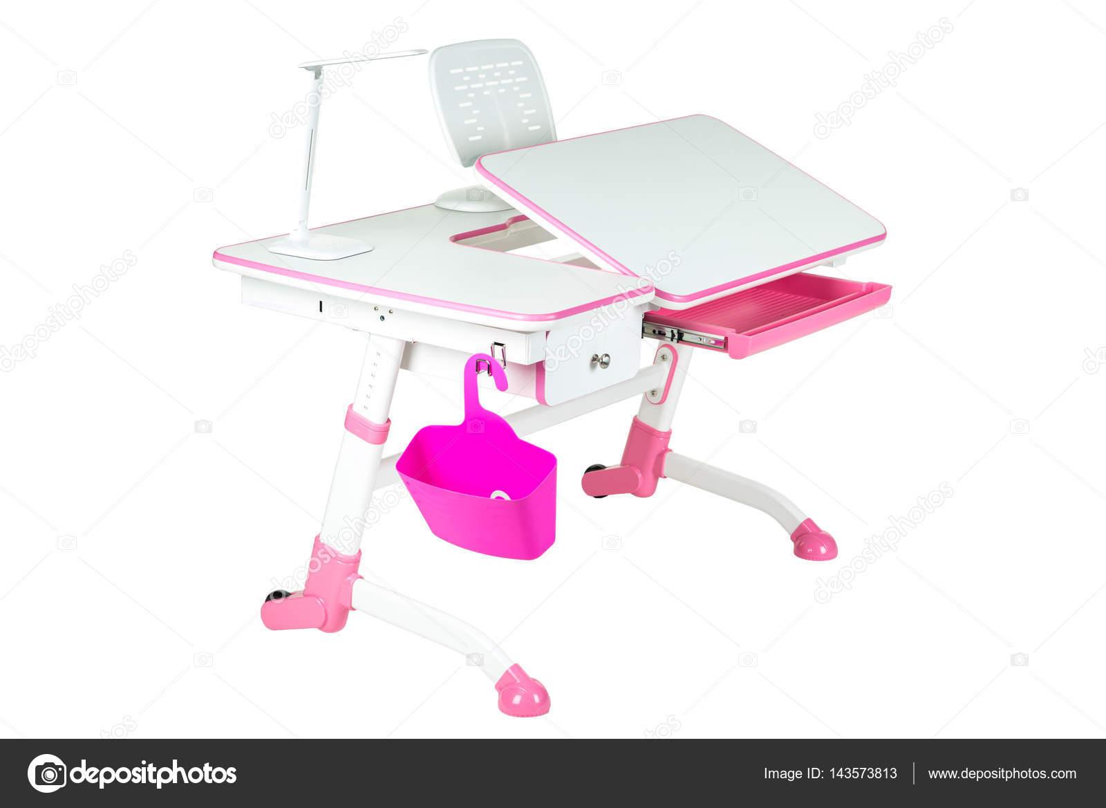 Pink School Desk Basket And Lamp Stock Photo