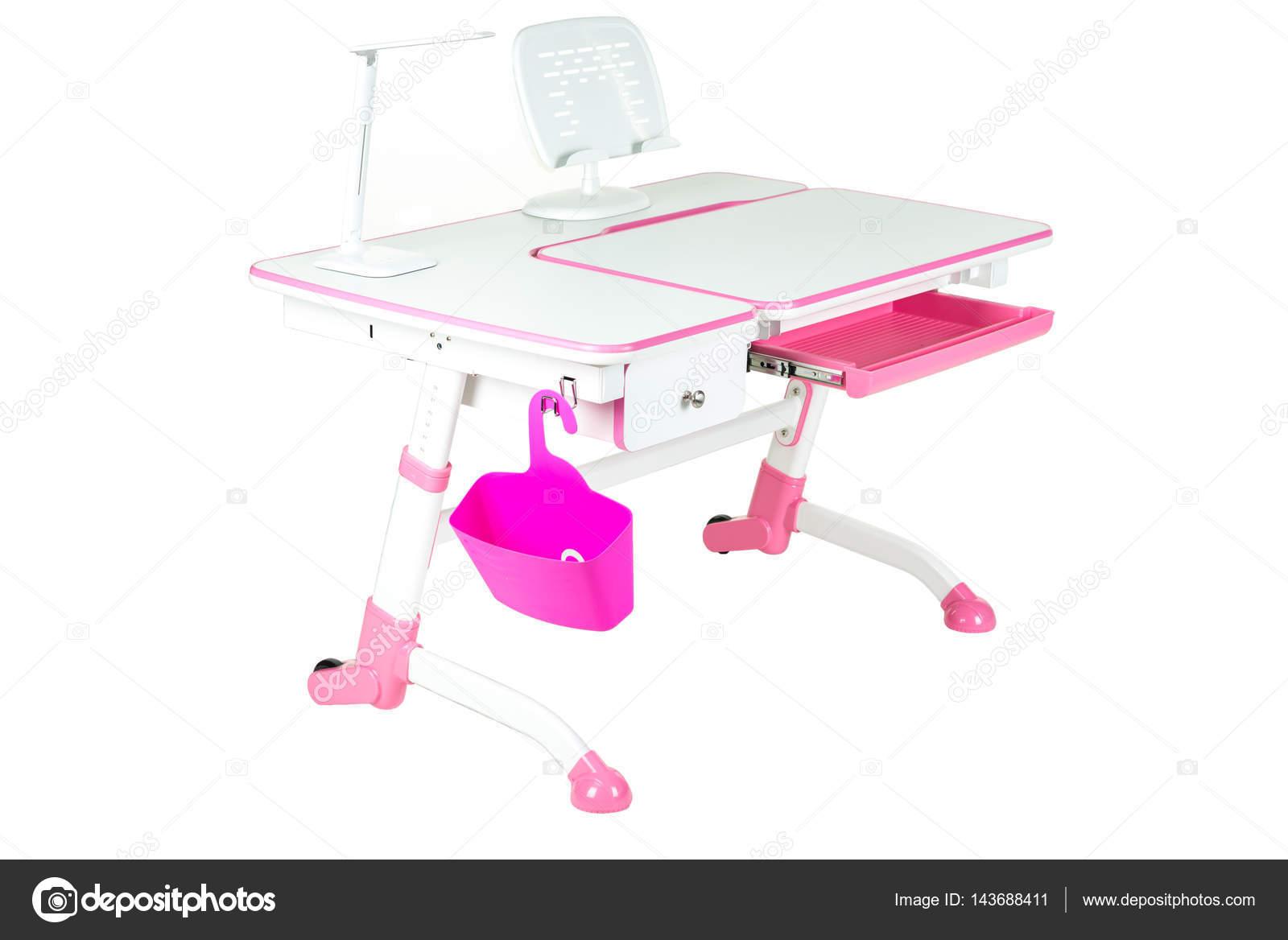 Bureau En Rose : Lampe de panier et un bureau du bureau rose rose school