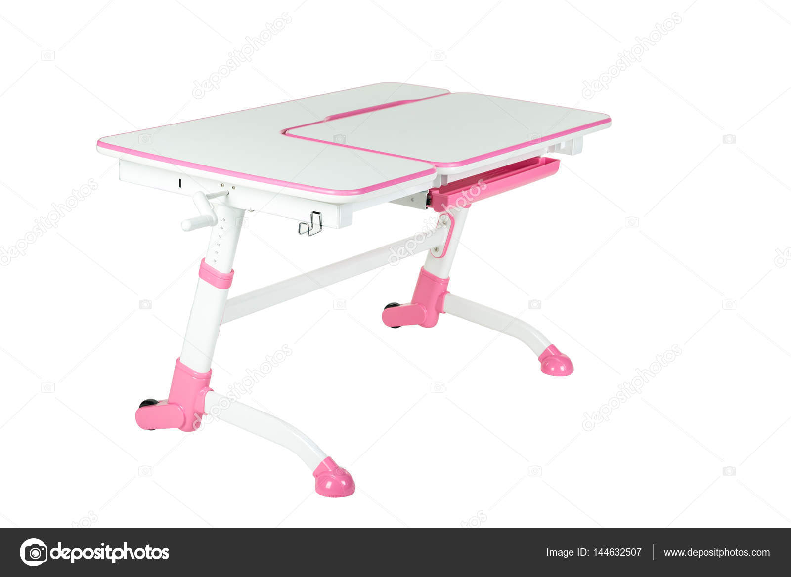 Pink School Desk Stock Photo
