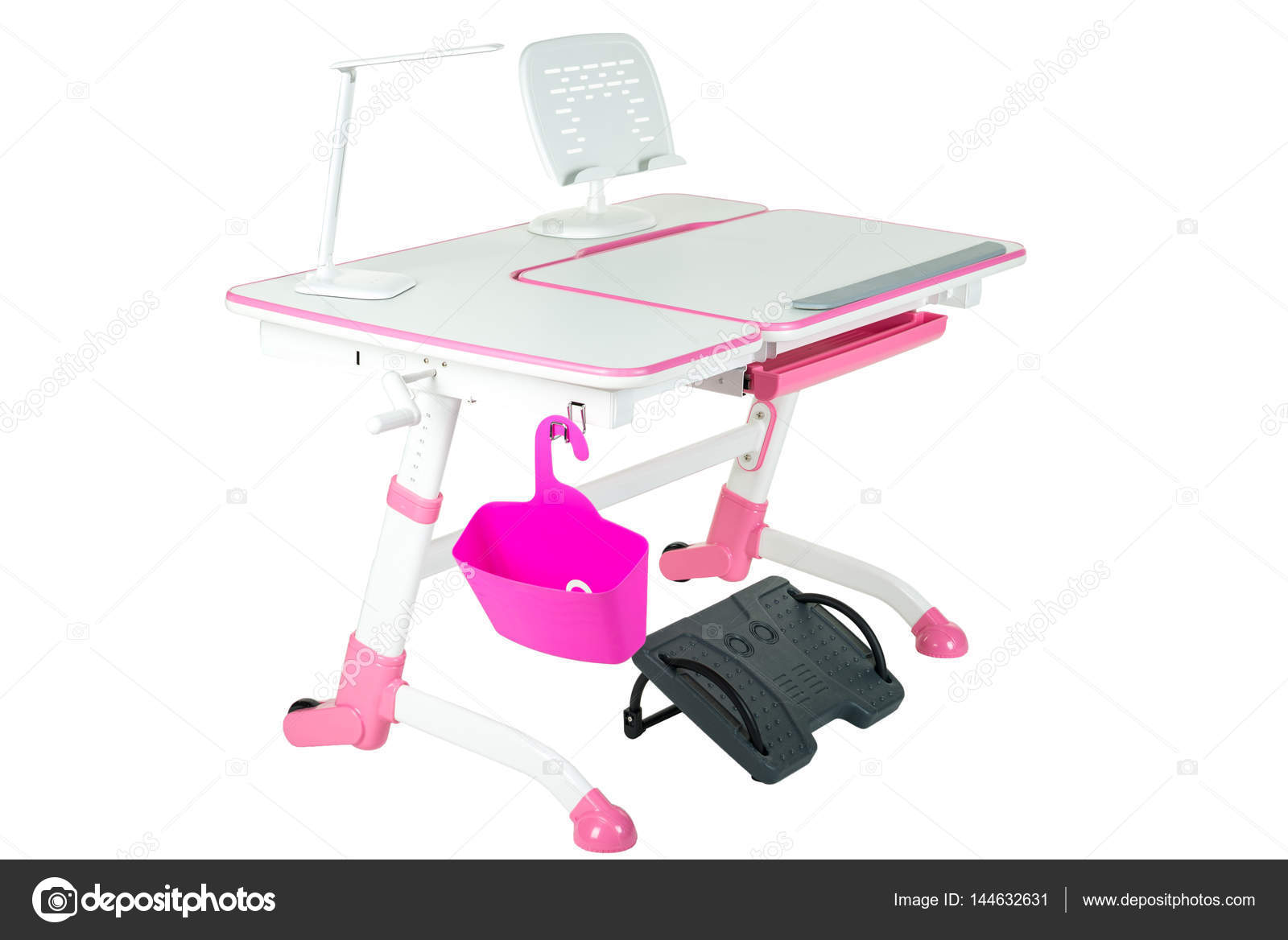 Pink School Desk Basket Lamp And Black Support Under Legs Stock