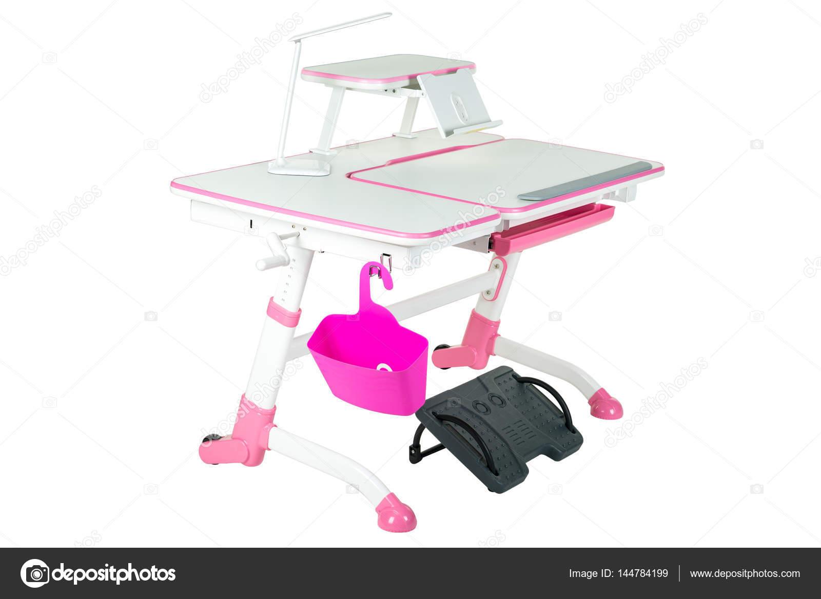 Banc d école rose rose panier lampe de bureau et de noir sous les