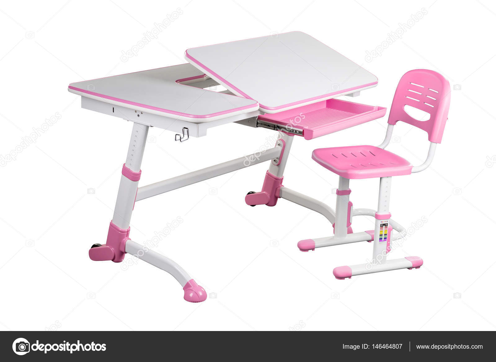 Pink School Desk And Chair Stock Photo