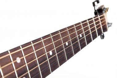 Part of an acoustic guitar - vulture, on a white isolated background. Horizontal frame