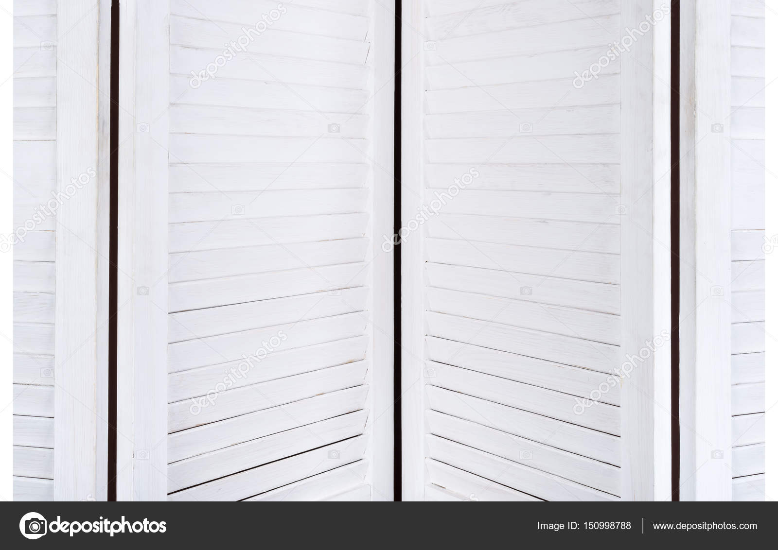 White wooden screen for changing clothes with a texture for the ...