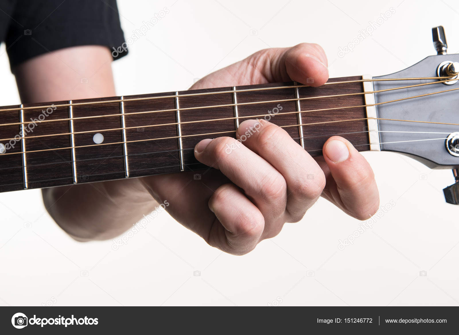 The Guitarists Hand Clamps The Chord Dmon The Guitar On A White