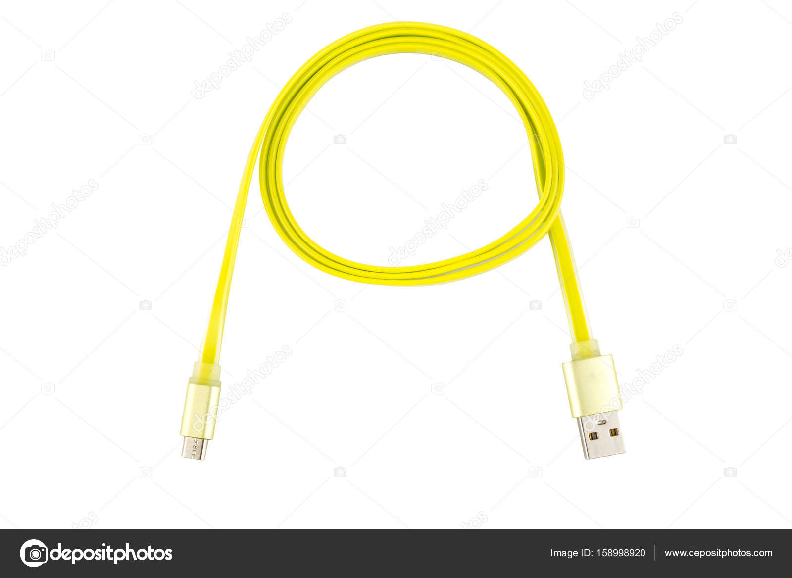 Yellow micro-usb cable twisted into a ring, on a white isolated ...