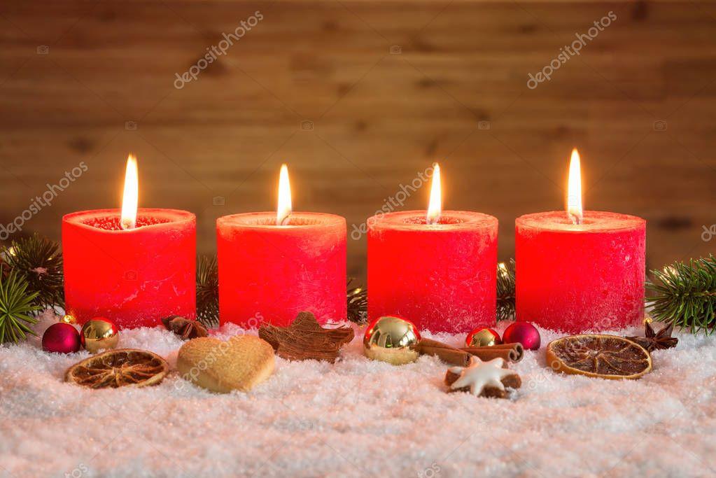 vier kerzen advent im schnee stockfoto 129325856. Black Bedroom Furniture Sets. Home Design Ideas