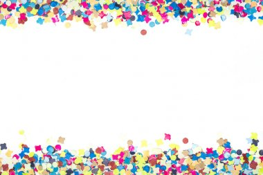 Colourful confetti forming a bordure on two margins of invitation for party stock vector