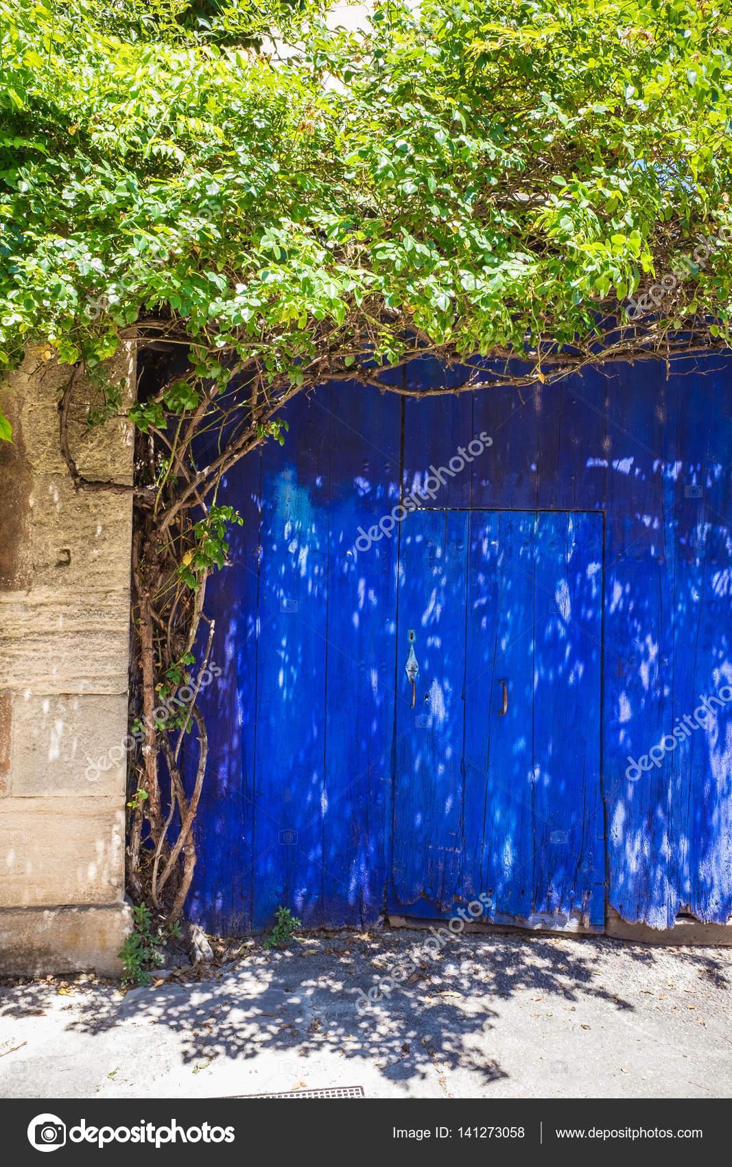 Blaue alte Garagentor mit grünen Trea Rahmung — Stockfoto © a.basler ...