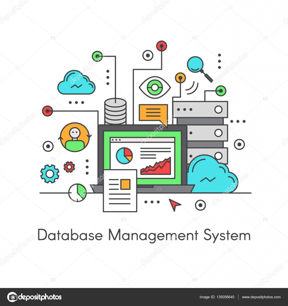 Databas management system dbms computer software application vector icon style illustration logo of database management system dbms computer software application interacting with the user other applications altavistaventures Choice Image