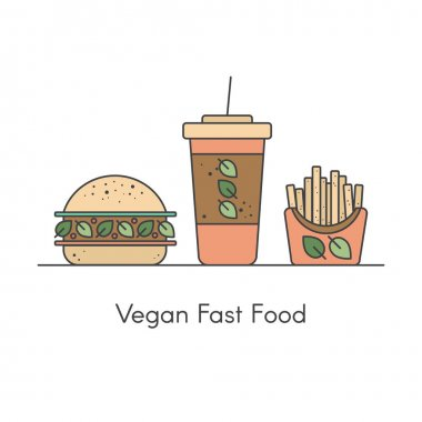 Vector Icon Style Illustration Set of Vegan Fast Food with Burger, Drink and Potato Fries icon