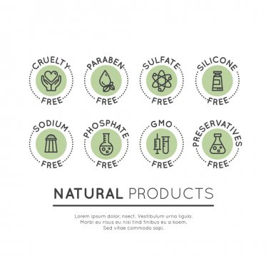 GMO, SLS, Paraben, Cruelty, Sulfate, Sodium, Phosphate, Silicone, Preservative Free Organic Product Stickers